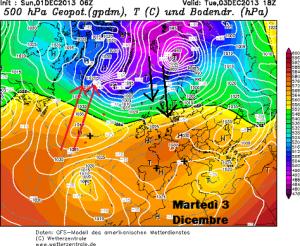 La situazione attesa Martedì. Fonte: Wetterzentrale.de, modificate da Marco Biagioli