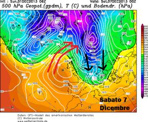 La situazione attesa Sabato 7 Novembre. Fonte: Wetterzentrale.de, modificate da Marco Biagioli