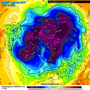 - Fig.1: Carta emisferica del modello ECMWF per sabato 11 gennaio; si nota il consistente raffreddamento che potrebbe interessare l'area russo-scandinava. -